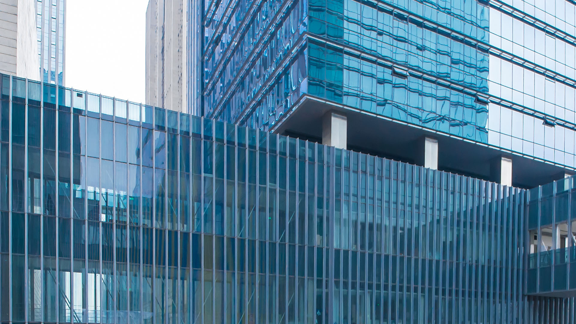 exterior view of office building walkway